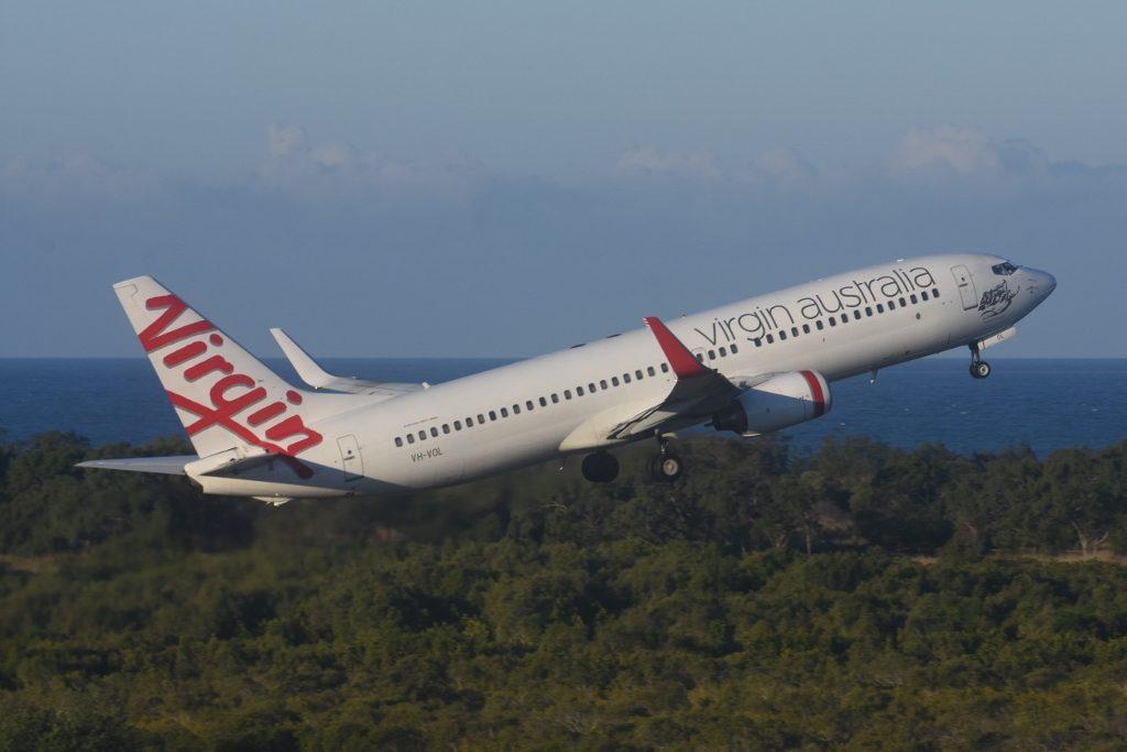 Virgin Australia Boeing 737 800WL VH VOL Newport Beach departing Mackay Airport