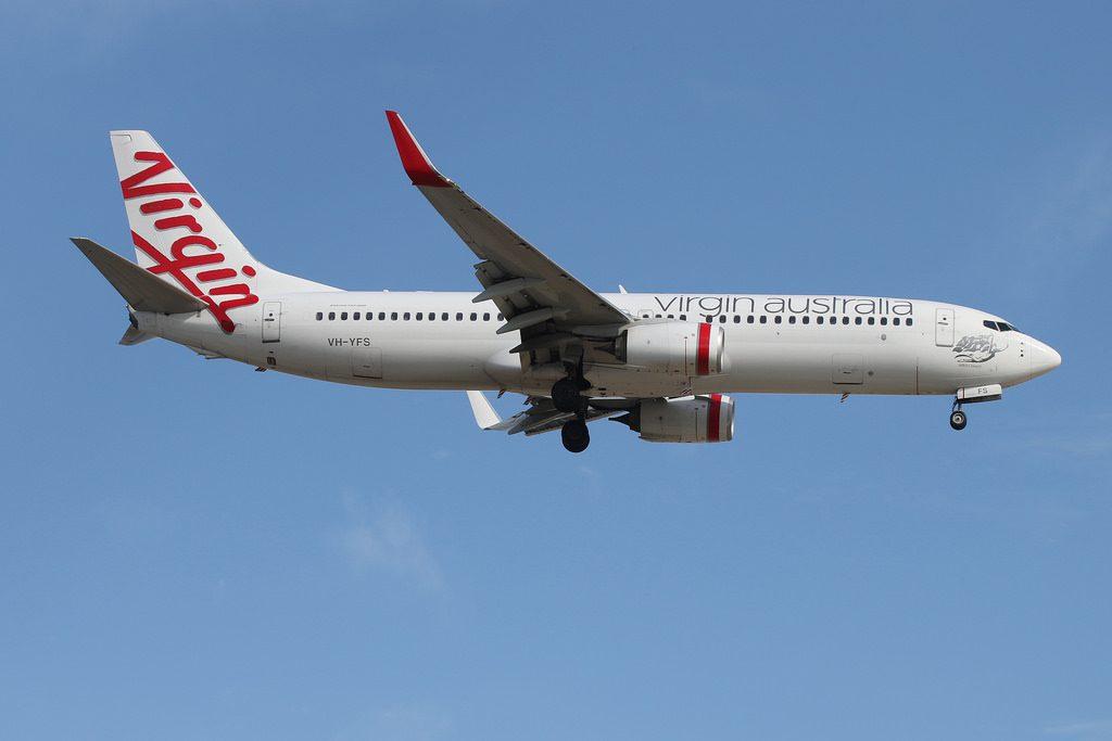 Virgin Australia Boeing 737 8FEWL VH YFS Sellicks Beach at Adelaide Airport