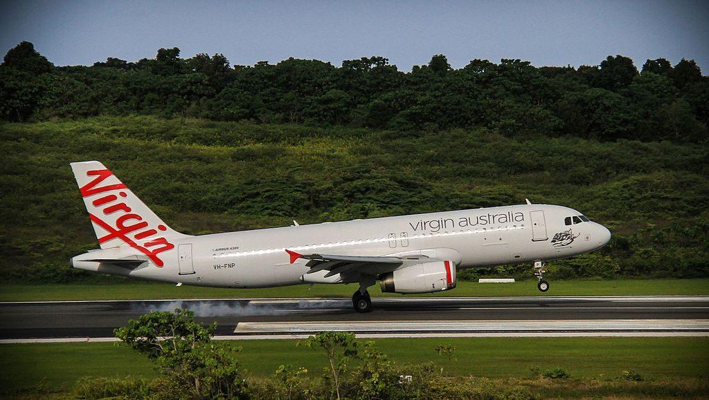 Virgin Australia Regional Airlines Airbus A320 232 VH YUD Port Beach at Christmas Island Airport