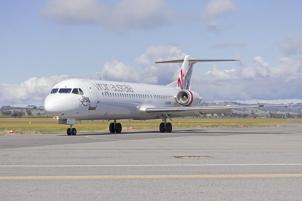 Virgin Australia Regional Airlines VH FWH Fokker 100 Swan River on taxiing at Wagga Wagga