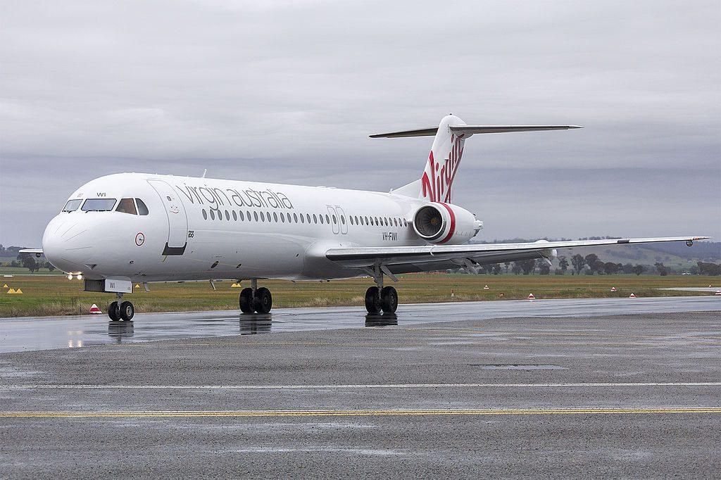 Virgin Australia Regional VH FWI Fokker 100 taxiing at Wagga Wagga Airport