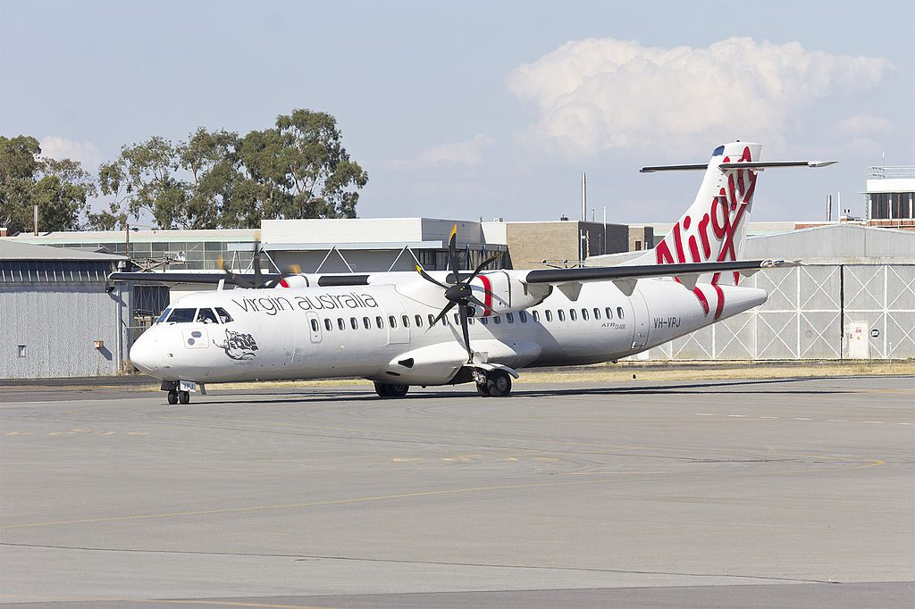 Virgin Australia Regional VH VPJ ATR 72 600 Monkey Mia taxiing at Wagga Wagga Airport