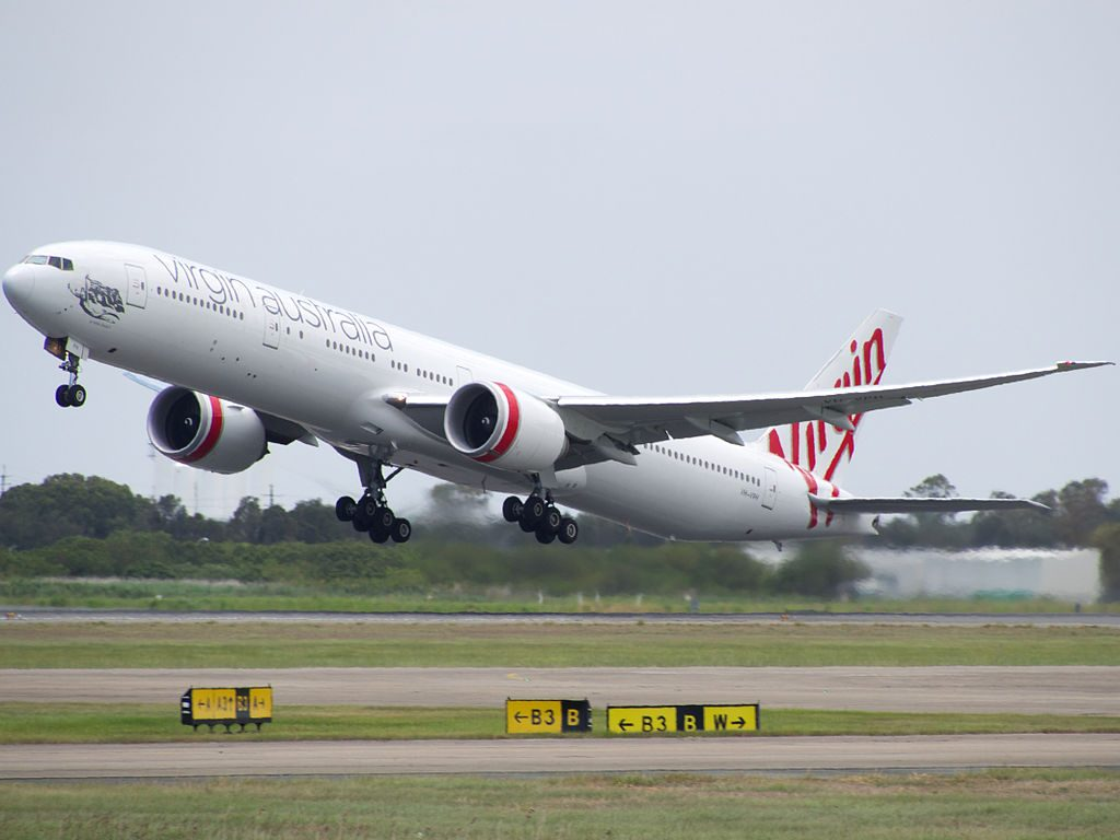 Virgin Australia VH VPH Boeing 777 3ZGER St Kilda Beach at Brisbane Airport