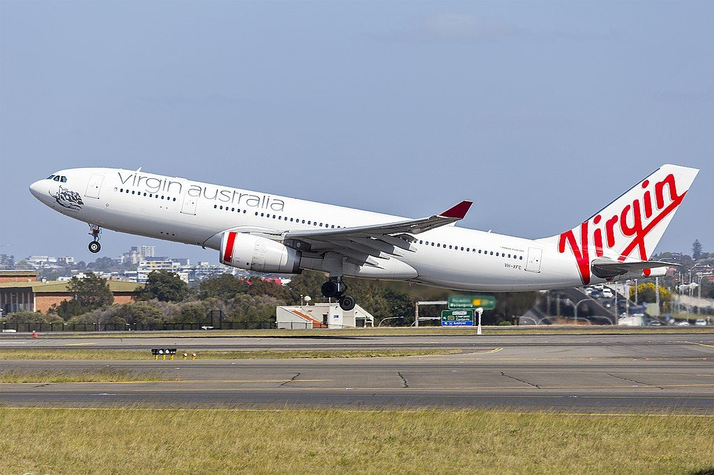 Virgin Australia VH XFC Airbus A330 243 Mooloolaba Beach at Sydney Airport
