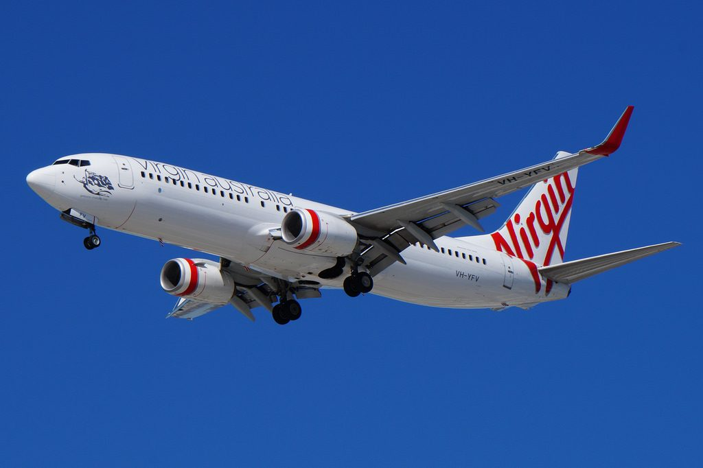 Virgin Australia VH YFV Boeing 737 8FEWL Princess Charlotte Bay at Sydney Airport