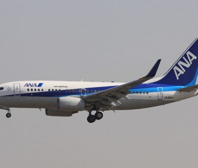 ANA Air Nippon JA18AN Boeing 737 781WL on short final for Runway 01 Beijing Capital Airport