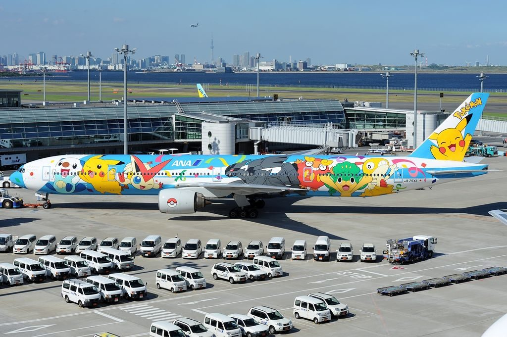ANA All Nippon Airways JA754A Boeing 777 381 Pokemon Livery at Tokyo Haneda International