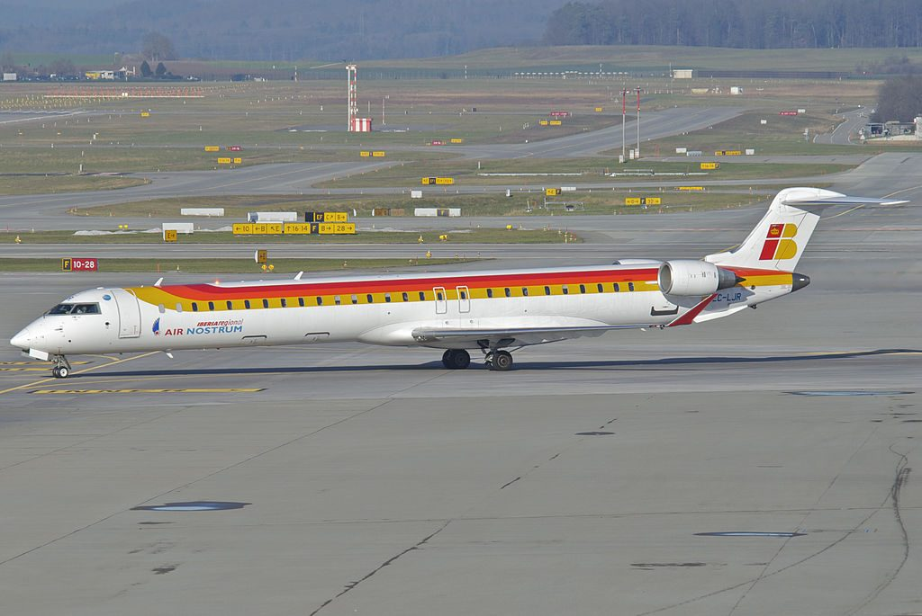 Air Nostrum Iberia Regional Bombardier Canadair CRJ1000 EC LJR at Zurich Airport