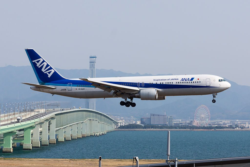 All Nippon Airways ANA Boeing 767 381ER JA611A Arrived from Shanghai at Kansai Airport