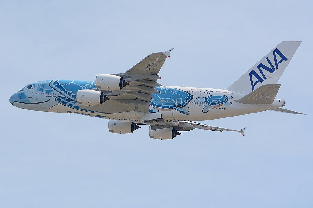All Nippon Airways ANA JA381A Airbus A380 841 Flying Honu at Narita International Airport