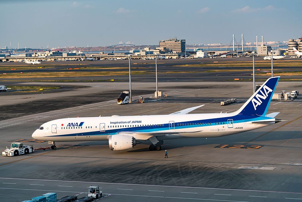 All Nippon Airways ANA JA836A Boeing 787 9 Dreamliner at Haneda airport
