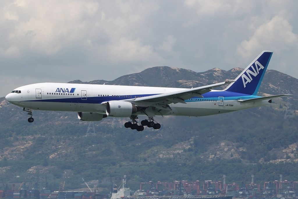Boeing 777 281ER All Nippon Airways ANA JA708A at HKG Hong Kong Chek Lap Kok International Airport