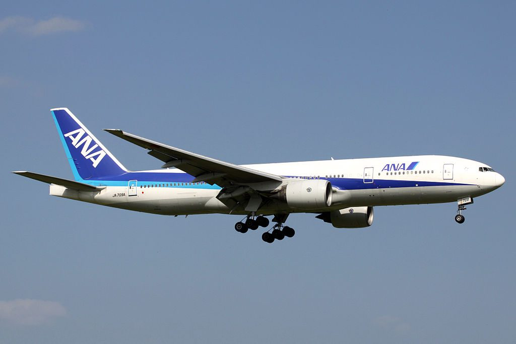 Boeing 777 281ER All Nippon Airways ANA JA709A Final Approach to Runway 16R Narita International Airport