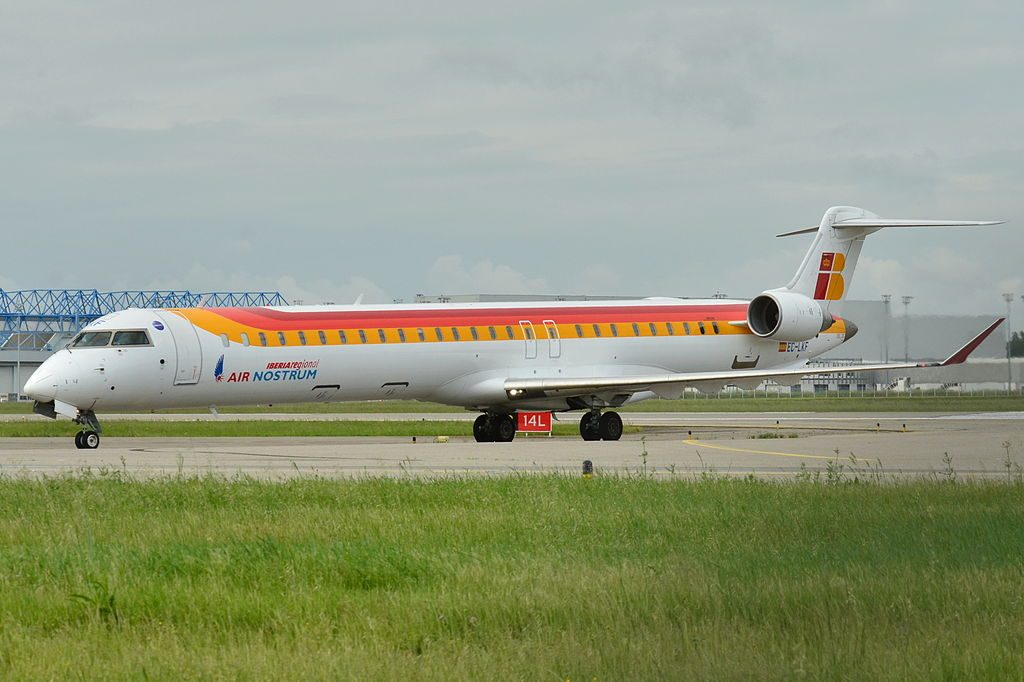 Bombardier Canadair CL 600 2E25 Regional Jet CRJ 1000 Air Nostrum Iberia Regional EC LKF at Toulouse Blagnac International Airport