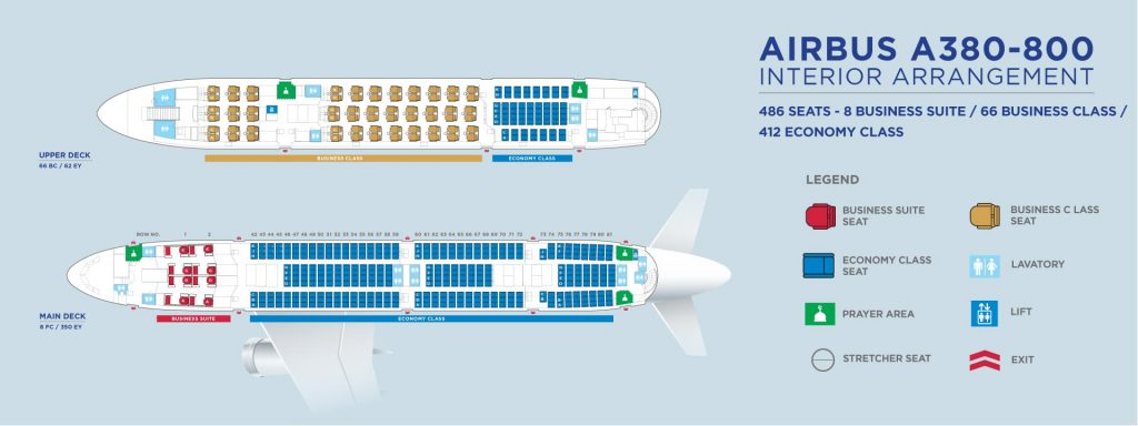Cabin Configuration and Seats Layout Malaysia Airlines Airbus A380 800 Main and Upper Deck