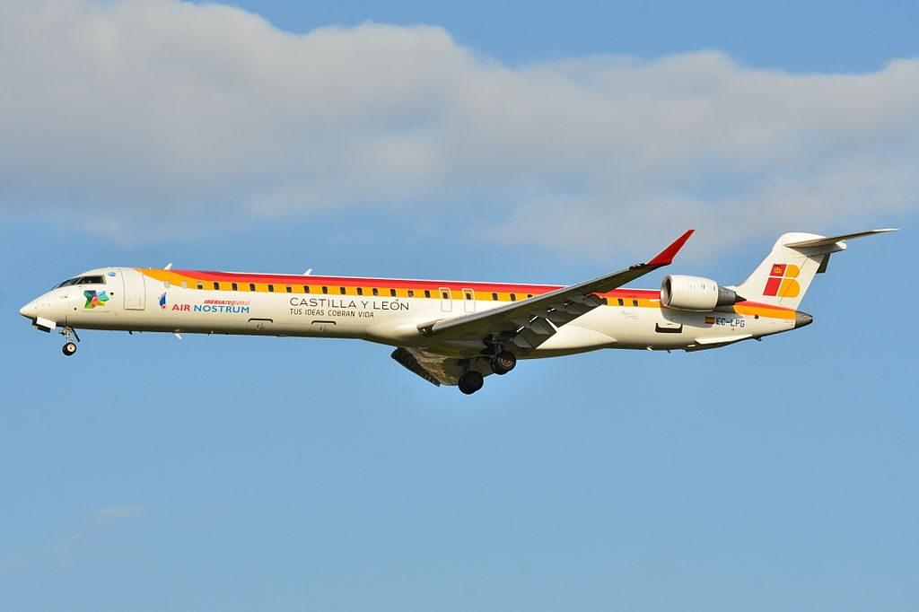 Canadair Bombardier CRJ 1000 Air Nostrum Iberia Regional Castilla y Leon EC LPG at Toulouse Blagnac International Airport