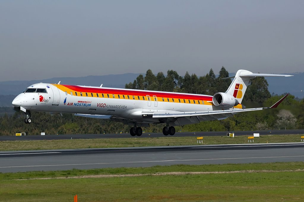 EC LPN Bombardier CRJ1000 of Air Nostrum Iberia Regional at Santiago de Compostela Airport