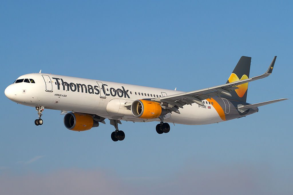 G TCDE Thomas Cook Airlines Airbus A321 211WL on finals into Salzburg Airport