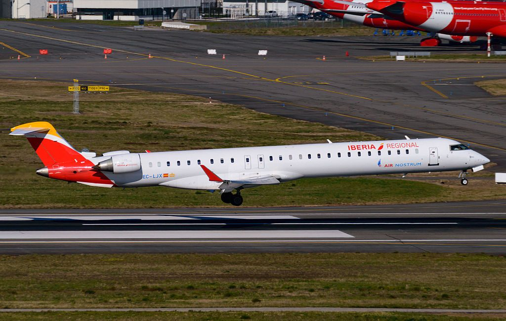 Iberia Regional Air Nostrum EC LJX Bombardier CRJ 1000 at Toulouse Blagnac International Airport