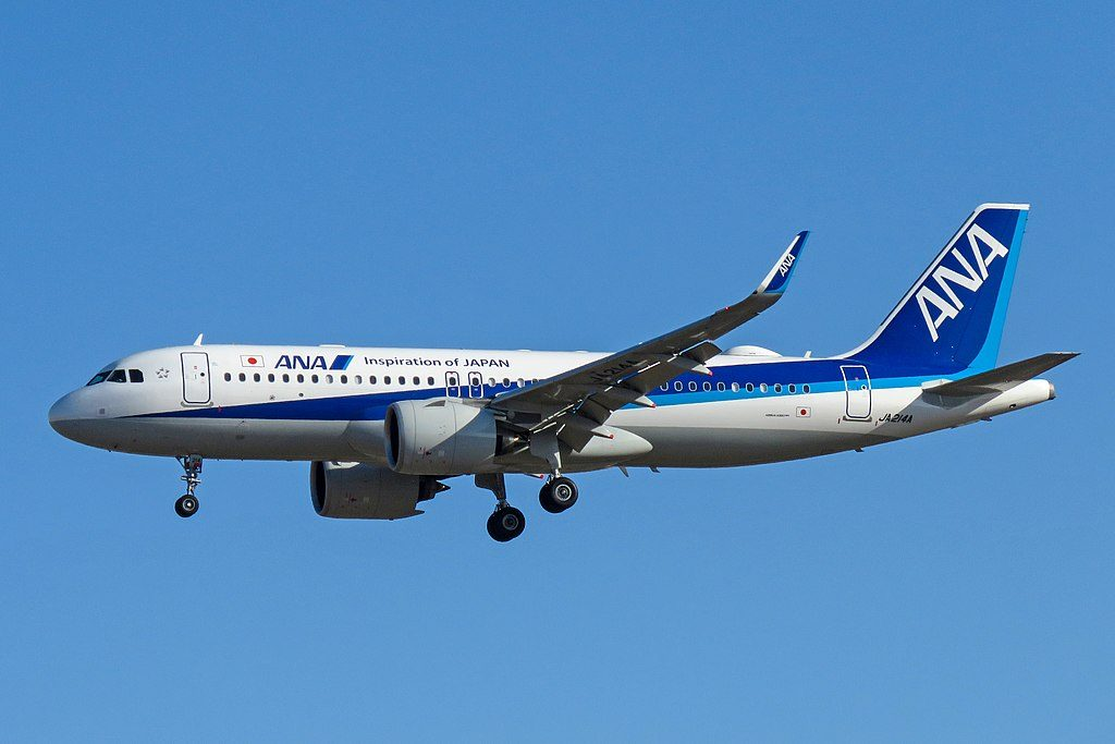 JA214A Airbus A320neo of All Nippon Airways at Beijing Capital International Airport