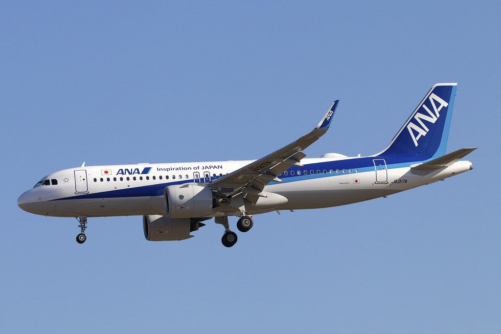 JA217A All Nippon Airways ANA Airbus A320 271N at Beijing Capital International Airport