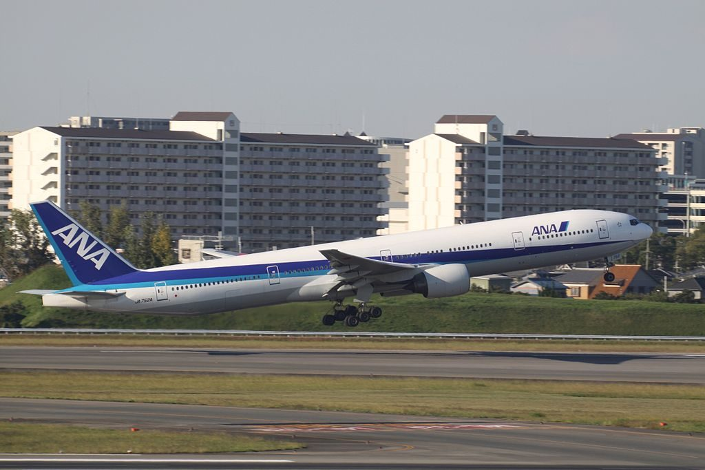JA752A Boeing 777 381 of All Nippon Airways ANA at Osaka International Airport