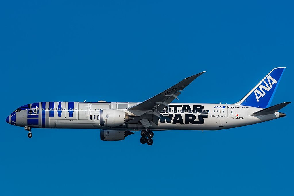 JA873A Boeing 787 9 Dreamliner All Nippon Airways ANA Star Wars R2 D2 livery at Tokyo International Airport