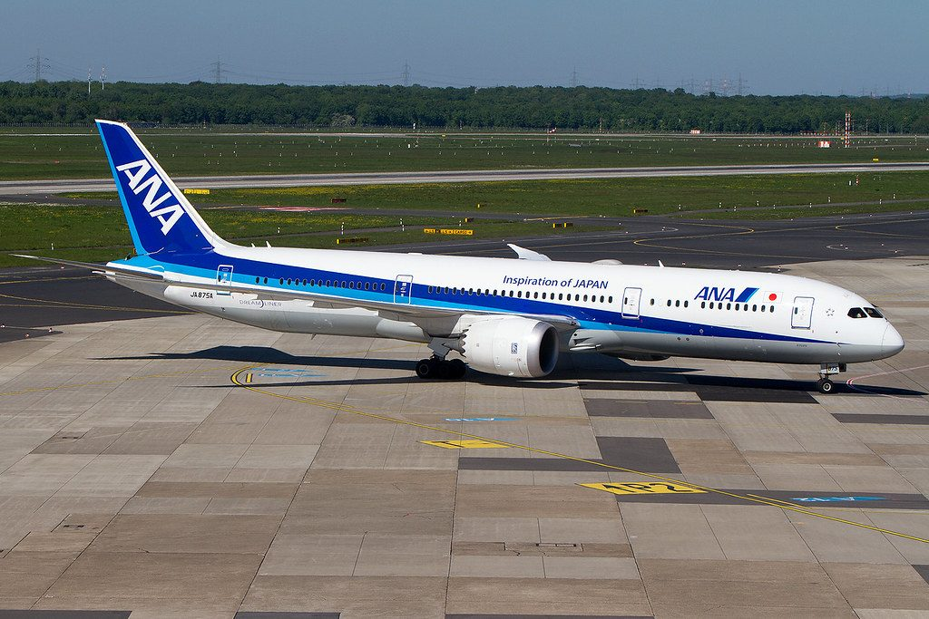 JA875A Boeing 787 9 Dreamliner ANA All Nippon Airways at Düsseldorf Airport