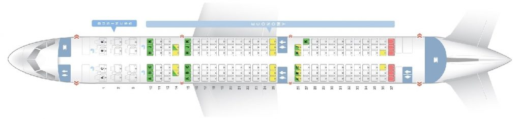 Seat Map and Seating Chart Airbus A321 200 V1 171 Seats Asiana Airlines
