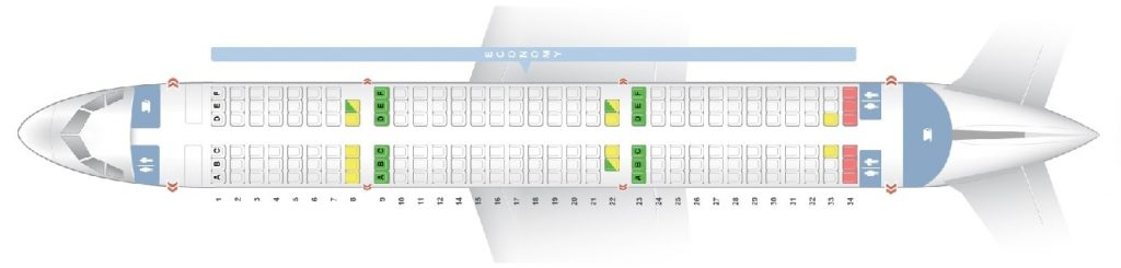 Seat Map and Seating Chart Airbus A321 200 V3 195 Seats Asiana Airlines