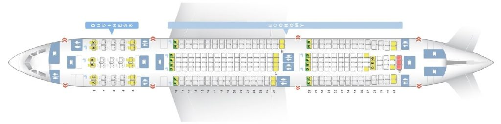 Seat Map and Seating Chart Airbus A330 300 275 Seats Asiana Airlines