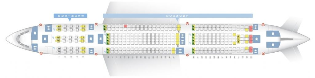 Seat Map and Seating Chart Airbus A330 300 290 Seats Asiana Airlines