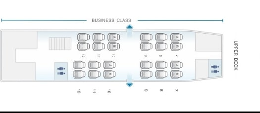 Seat Map and Seating Chart Asiana Airlines Boeing 747 400 Upper Cabin
