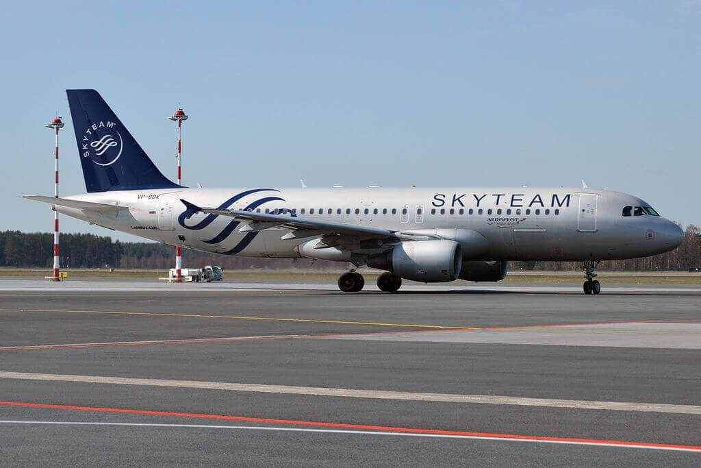 Aeroflot Airbus A320 214 VP BDK SkyTeam Livery at Riga International Airport