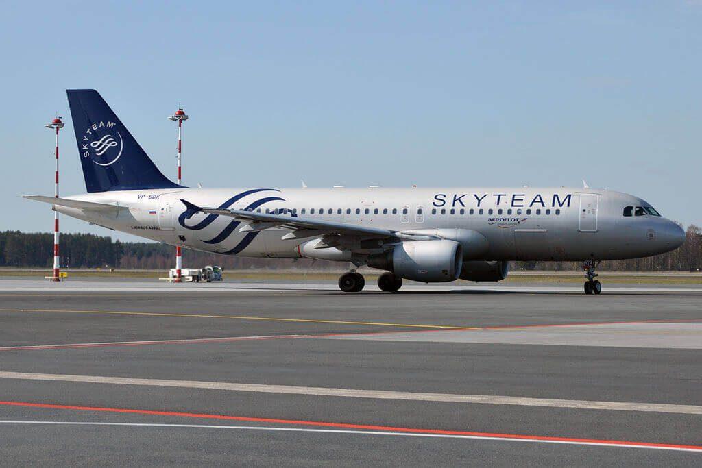 Aeroflot Airbus A320 214 VP BDK SkyTeam Livery at Riga International Airport