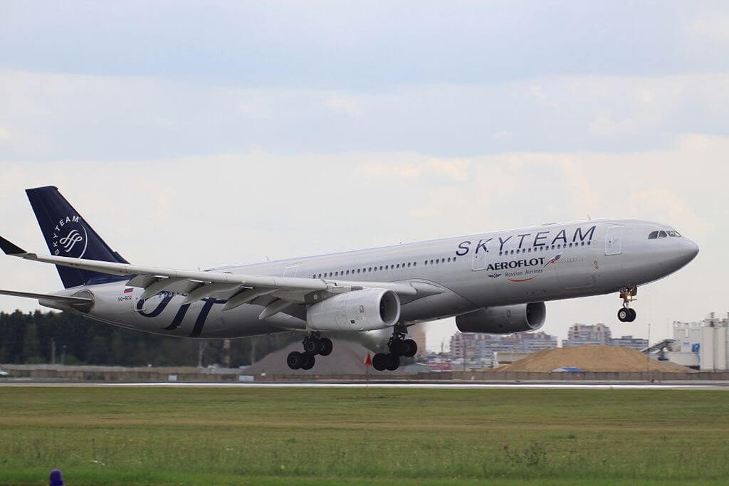 Aeroflot Airbus A330 343 VQ BCQ SkyTeam livery at Sheremetyevo International Airport