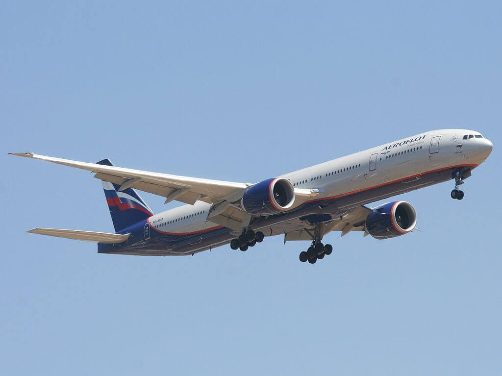 Aeroflot Boeing 777 3M0ER VQ BQD A. Chekhov А. Чехов at Ben Gurion International Airport