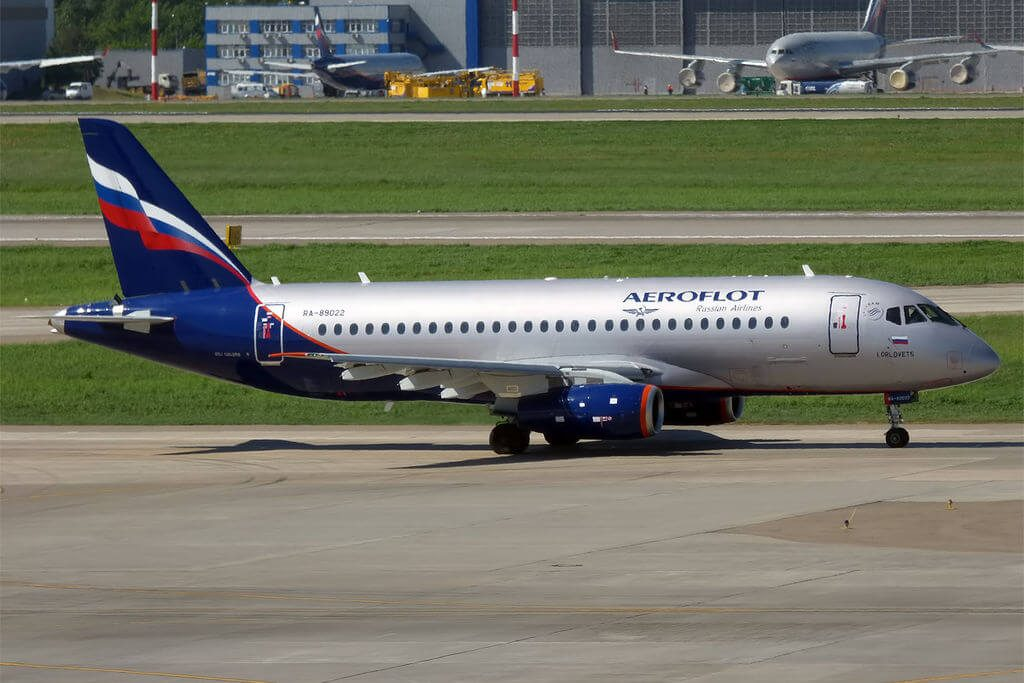 Aeroflot RA 89022 Sukhoi SuperJet 100 95B I. Orlovets И.Орловец at Sheremetyevo International Airport