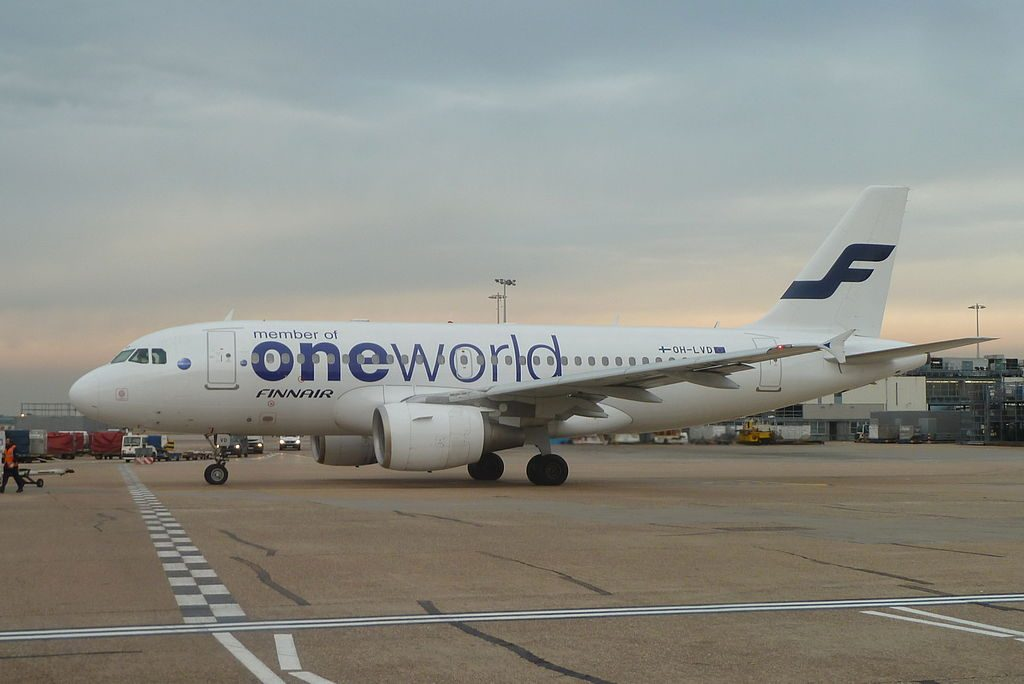 Airbus A319 112 OH LVD oneworld livery Finnair at London Heathrow Airport
