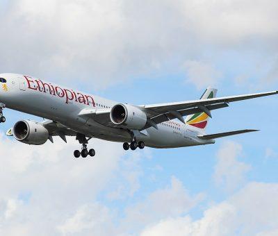 Airbus A350 941 ET AUA Simien Fox Ethiopian Airlines at London Heathrow Airport