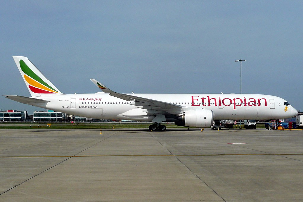 Airbus A350 941 ET AVB Gelada Baboon Ethiopian Airlines at London Heathrow Airport