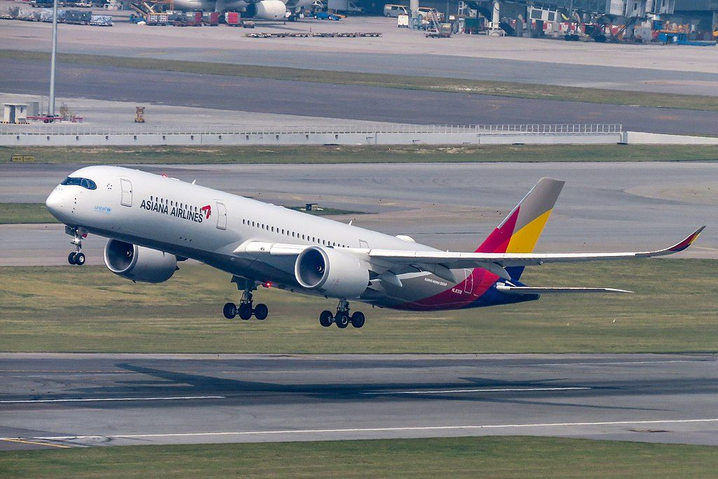 Asiana Airlines Airbus A350 941 HL8308 at Hong Kong International Airport