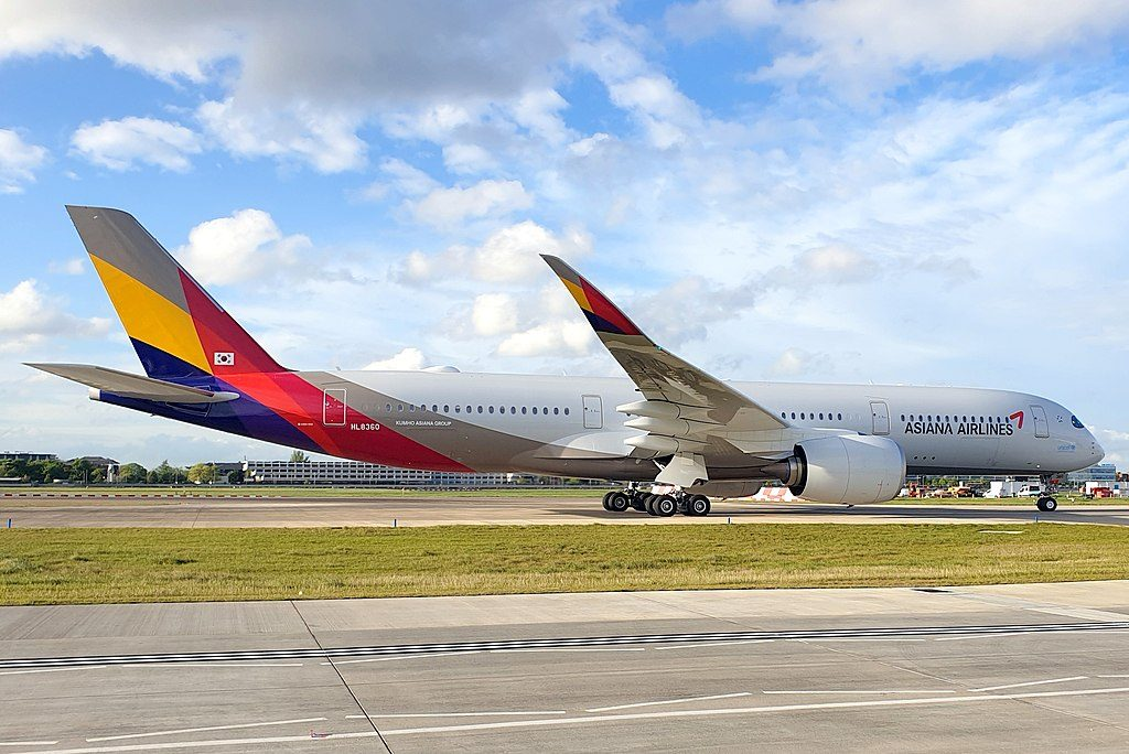 Asiana Airlines Airbus A350 941 HL8360 at London Heathrow Airport