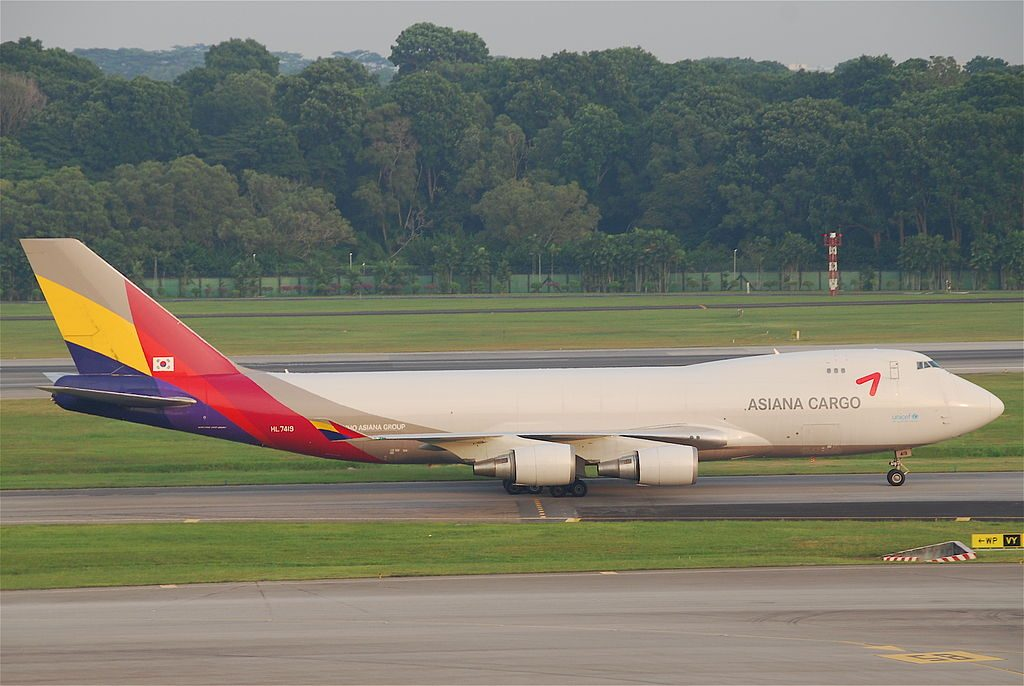 Asiana Cargo HL7419 Boeing 747 48EF at Singapore Changi Airport