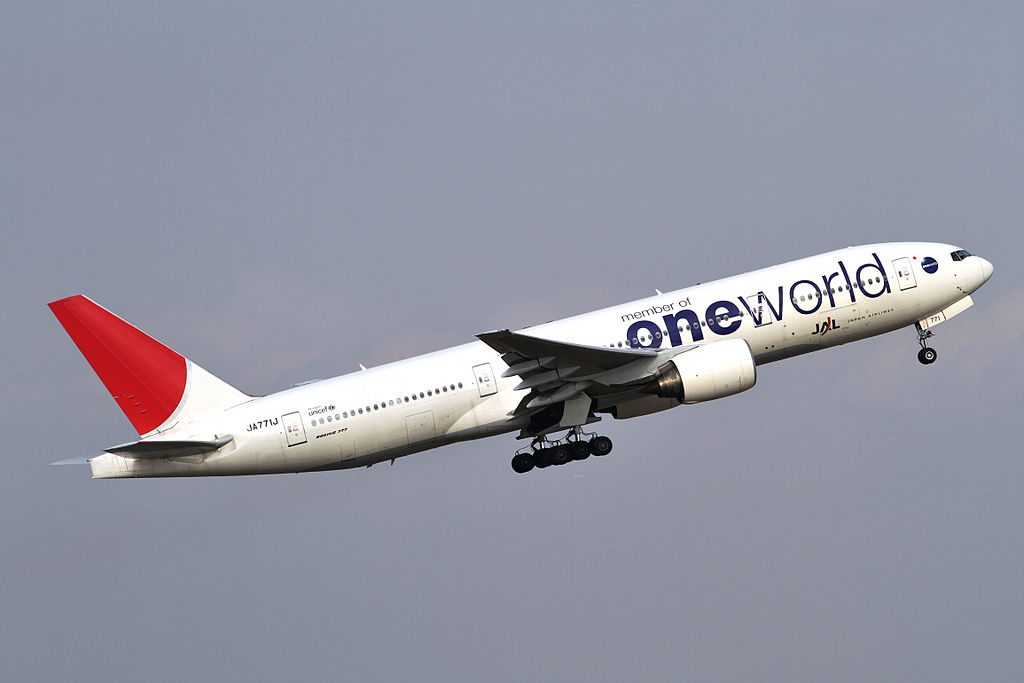 Boeing 777 246 JA771J Japan Airlines JAL Oneworld livery at Tokyo International Airport