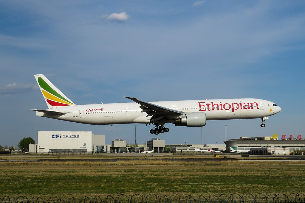 Boeing 777 36NER ET APY Ethiopian Airlines at Beijing Capital International Airport