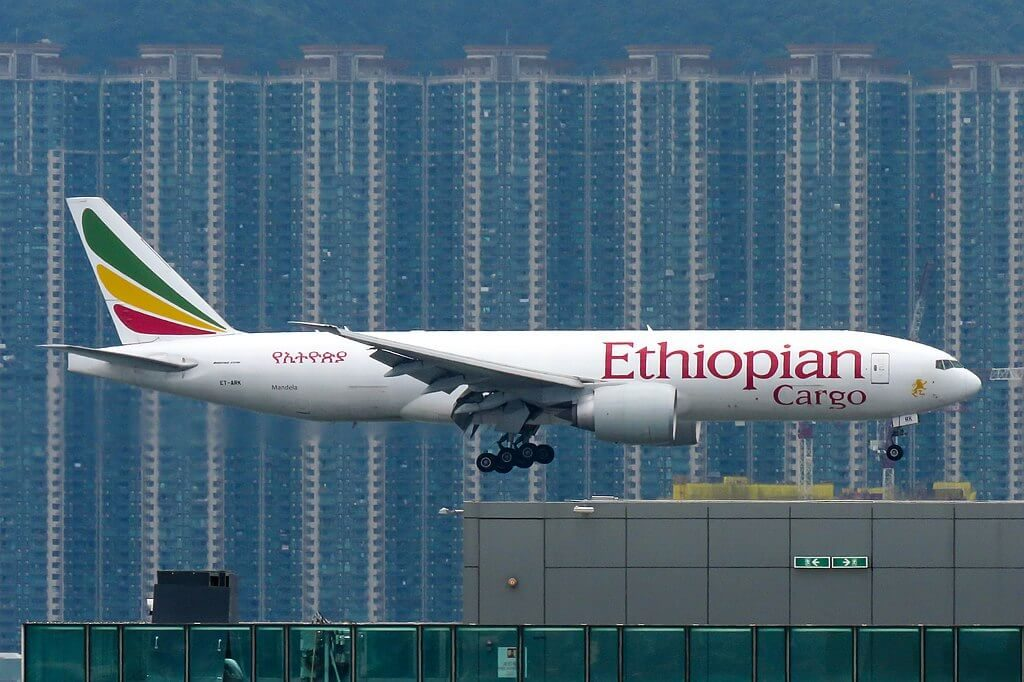 Boeing 777 F60 cargo ET ARK Mandela Ethiopian Airlines at Hong Kong International Airport