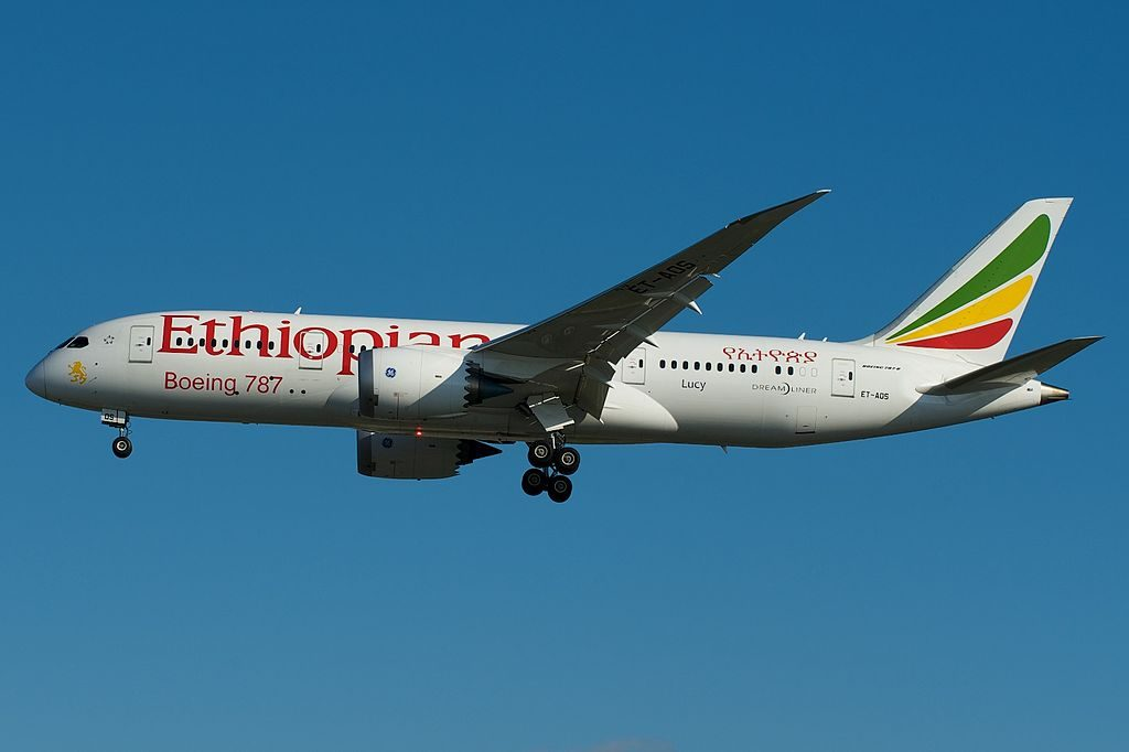 Boeing 787 8 Dreamliner ET AOS Lucy Ethiopian Airlines at Toronto Pearson International Airport