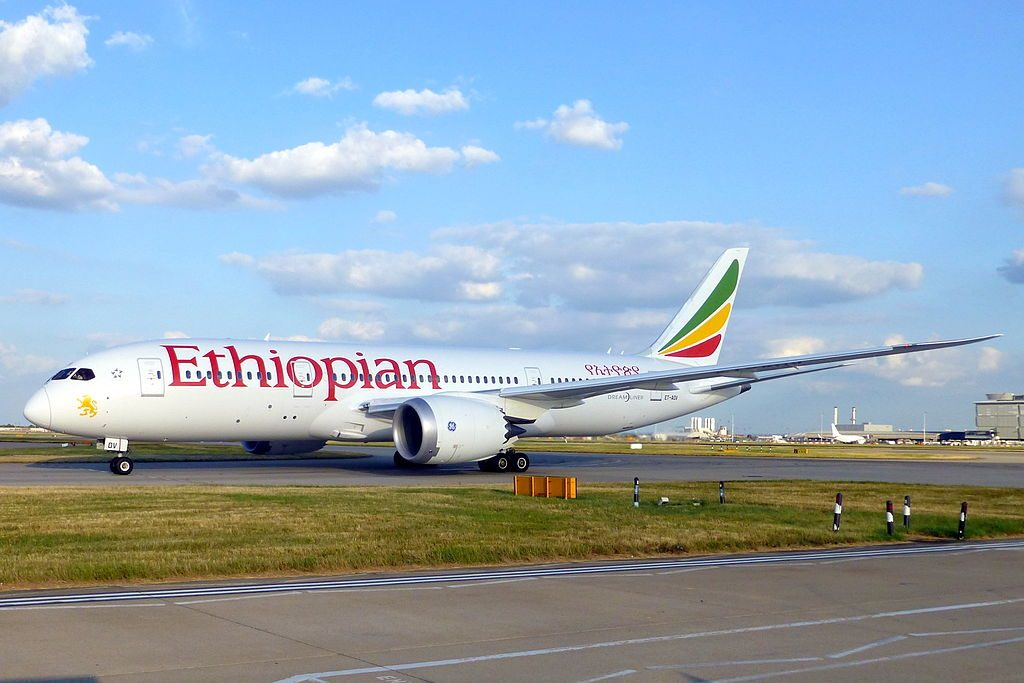Boeing 787 8 Dreamliner ET AOV Taj Mahal Ethiopian Airlines at London Heathrow Airport