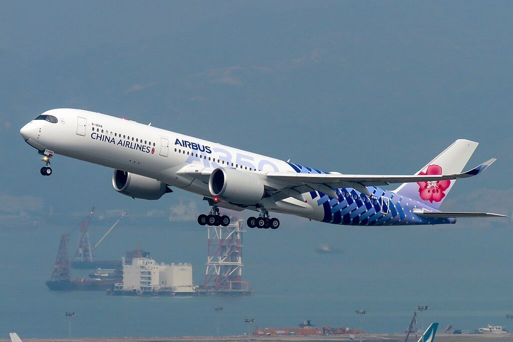 China Airlines Airbus A350 941 B 18918 Carbon Fibre Livery at Hong Kong International Airport